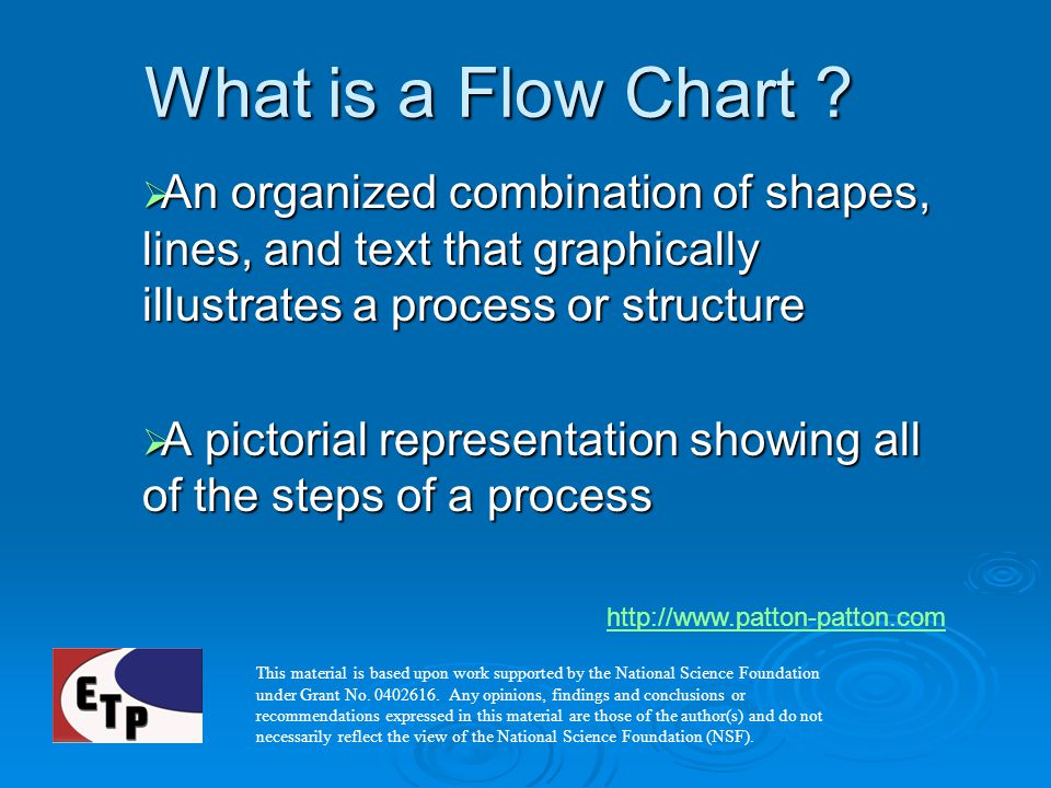 What is a Flow Chart An organized combination of shapes, lines, and text that graphically illustrates a process or structure.
