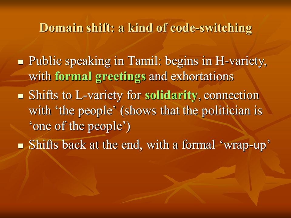 Domain shift: a kind of code-switching