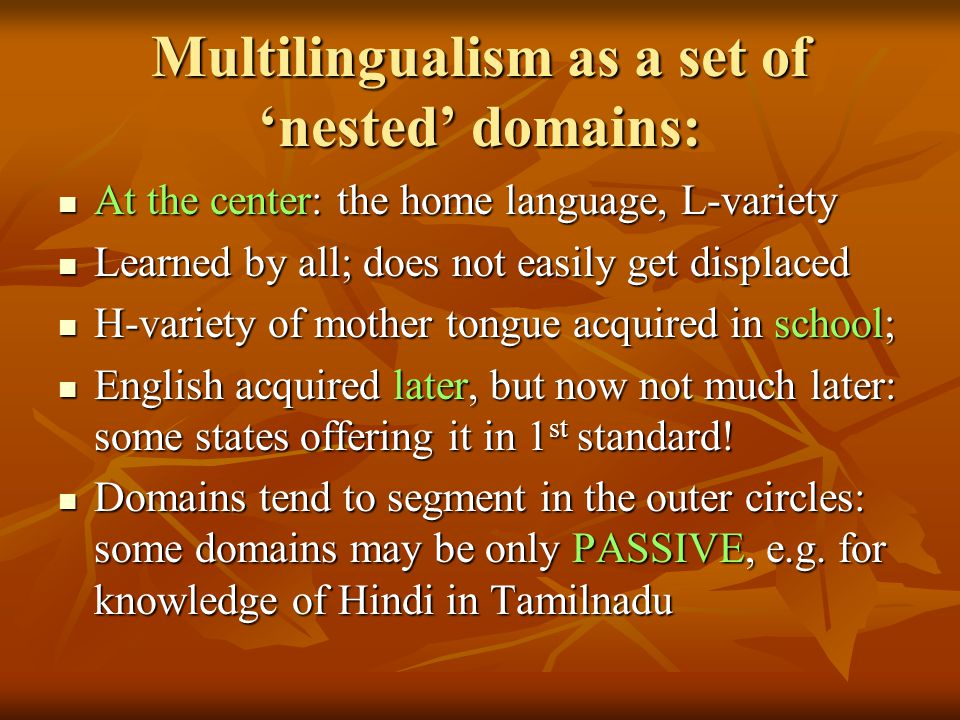 Multilingualism as a set of 'nested' domains: