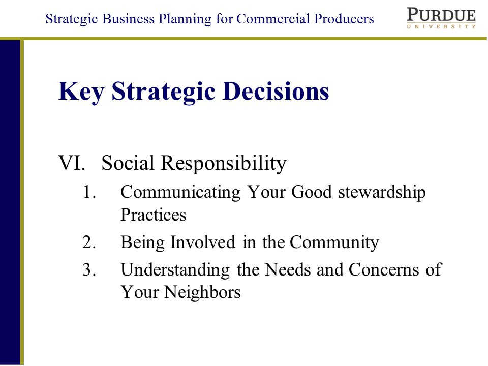 Key Strategic Decisions