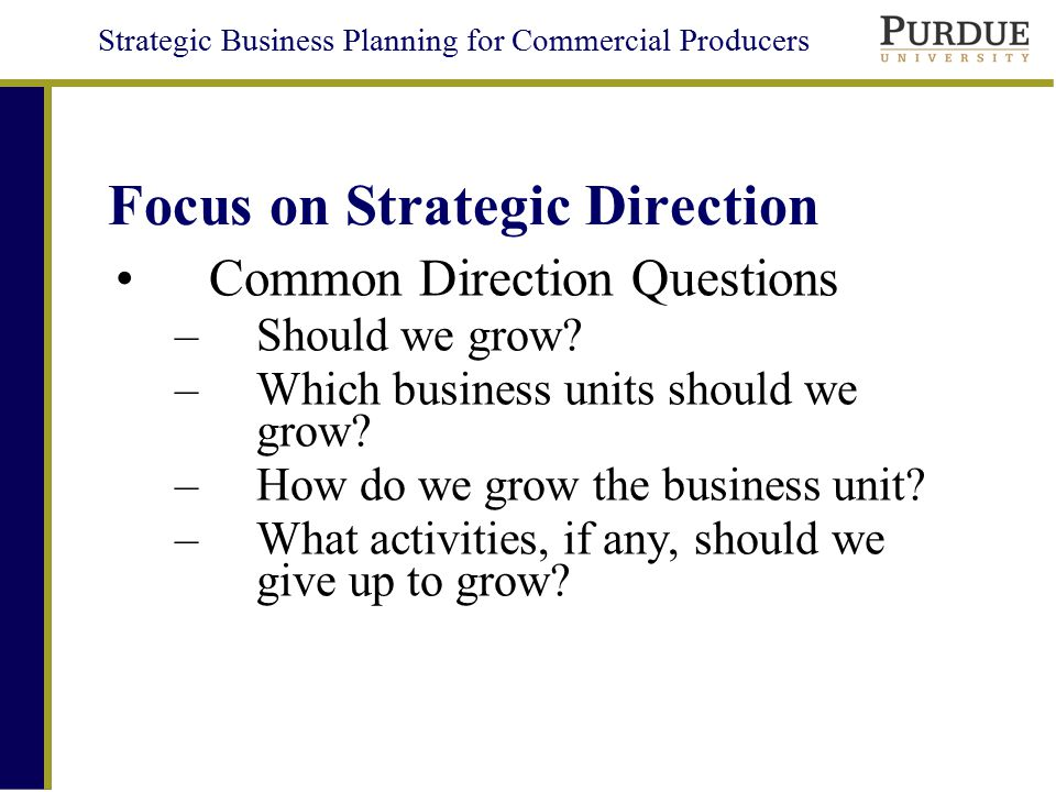 Focus on Strategic Direction