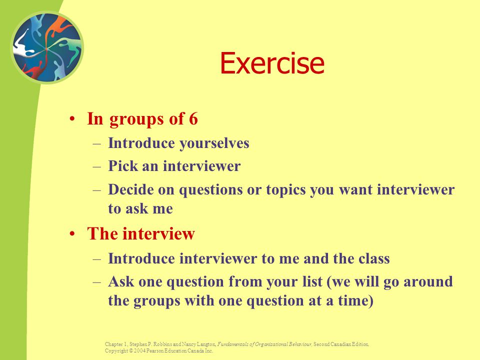 Exercise In groups of 6 The interview Introduce yourselves