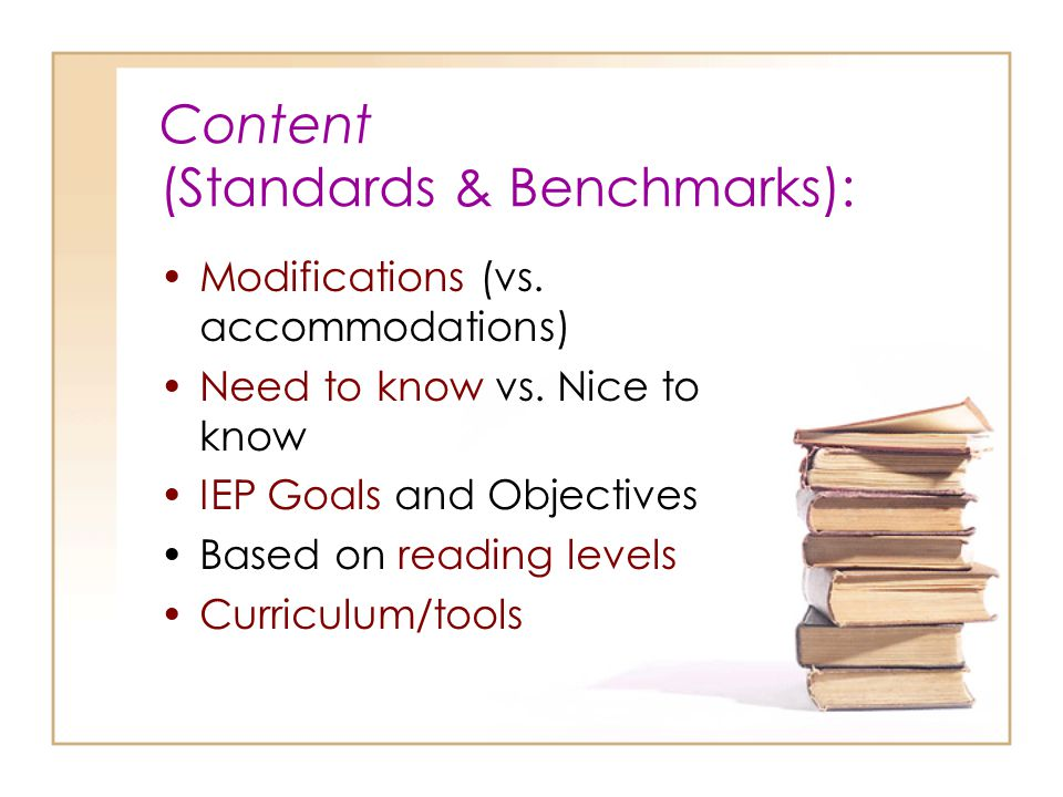 Content (Standards & Benchmarks):