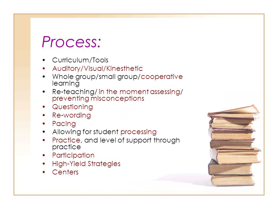 Process: Curriculum/Tools Auditory/Visual/Kinesthetic