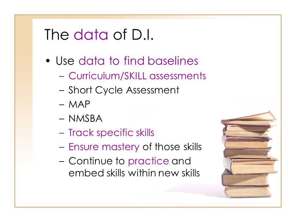 The data of D.I. Use data to find baselines