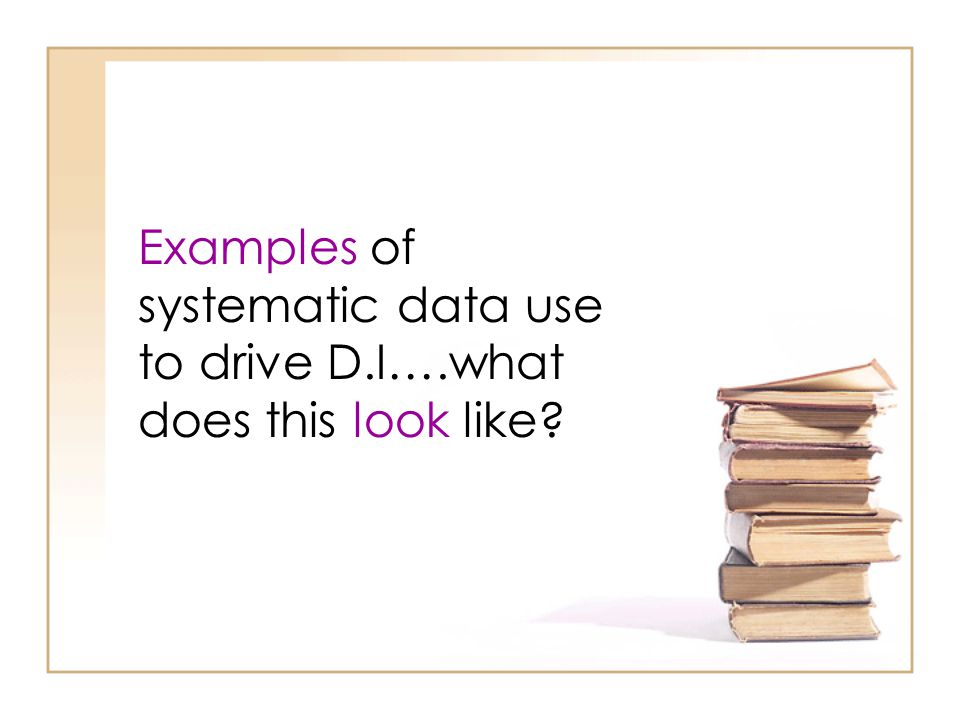 Examples of systematic data use to drive D. I…