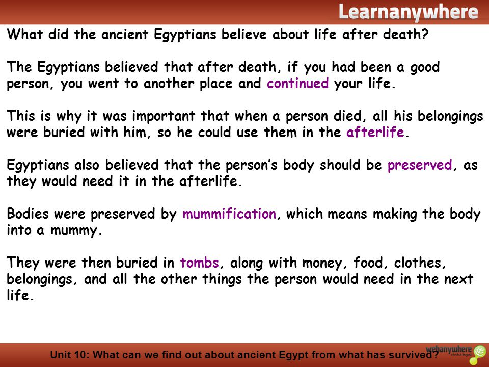 What did the ancient Egyptians believe about life after death