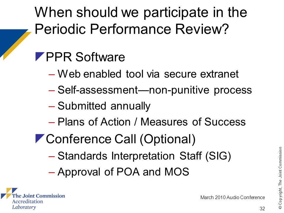 When should we participate in the Periodic Performance Review