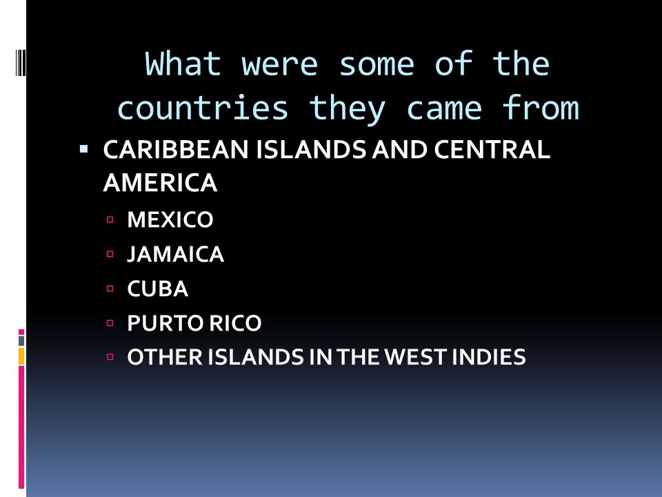 What were some of the countries they came from