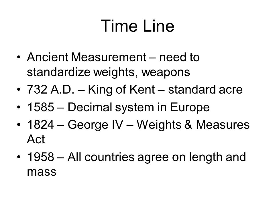 Time Line Ancient Measurement – need to standardize weights, weapons