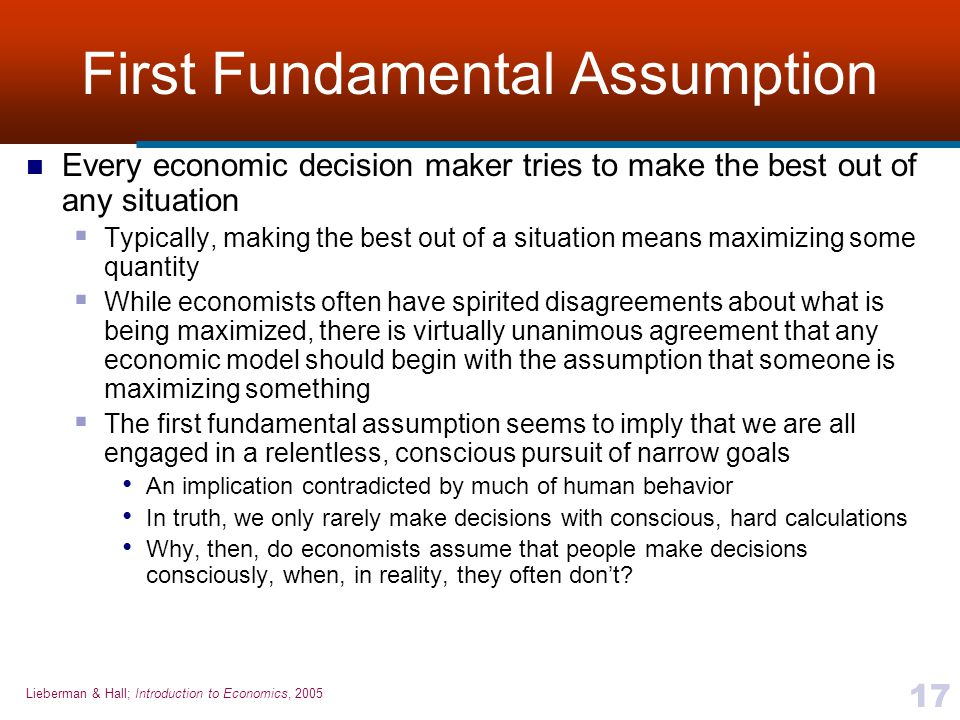 First Fundamental Assumption