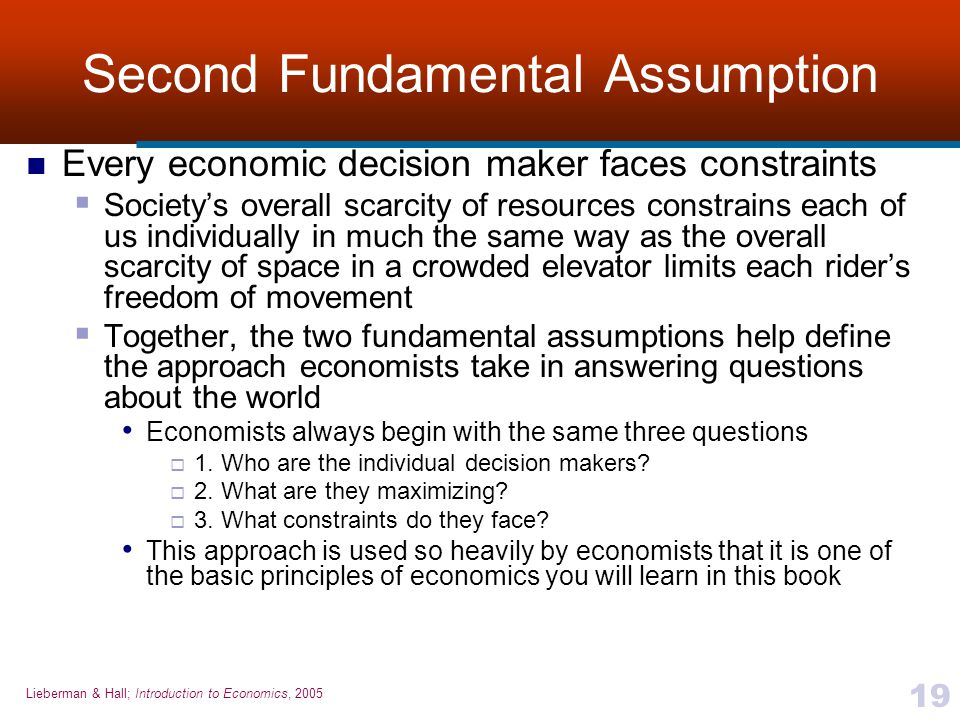 Second Fundamental Assumption