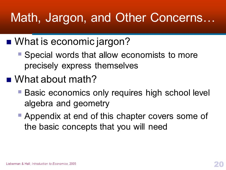 Math, Jargon, and Other Concerns…