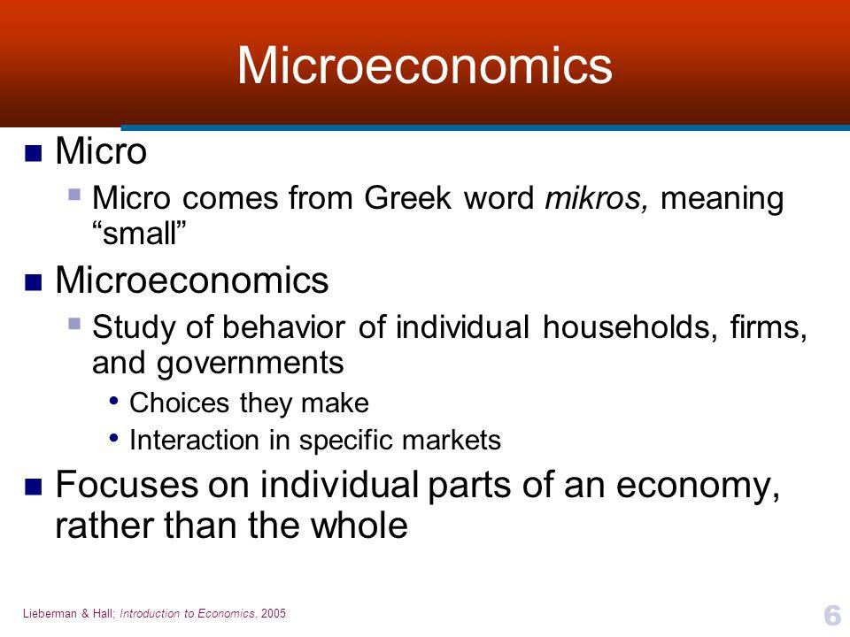 Microeconomics Micro Microeconomics