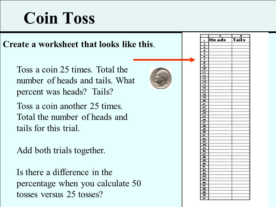 Coin Toss Create a worksheet that looks like this.