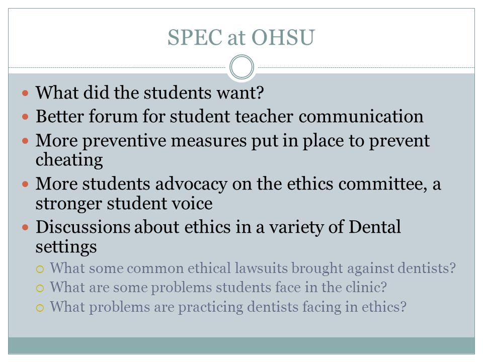SPEC at OHSU What did the students want