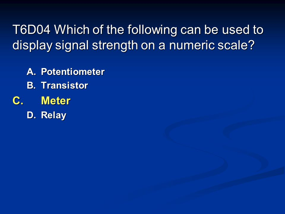 T6D04 Which of the following can be used to display signal strength on a numeric scale