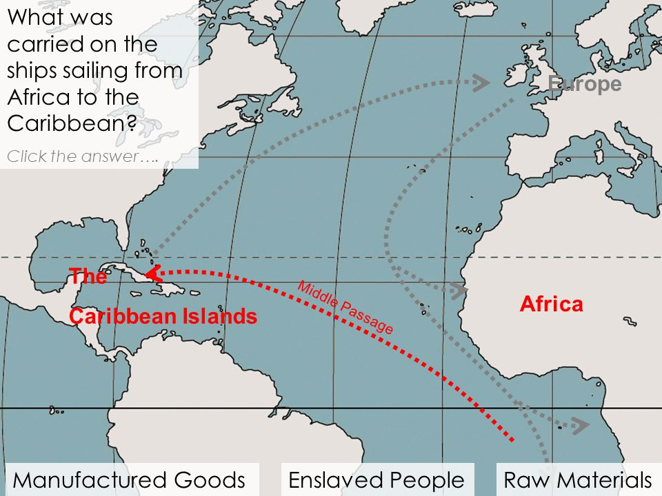 What was carried on the ships sailing from Africa to the Caribbean
