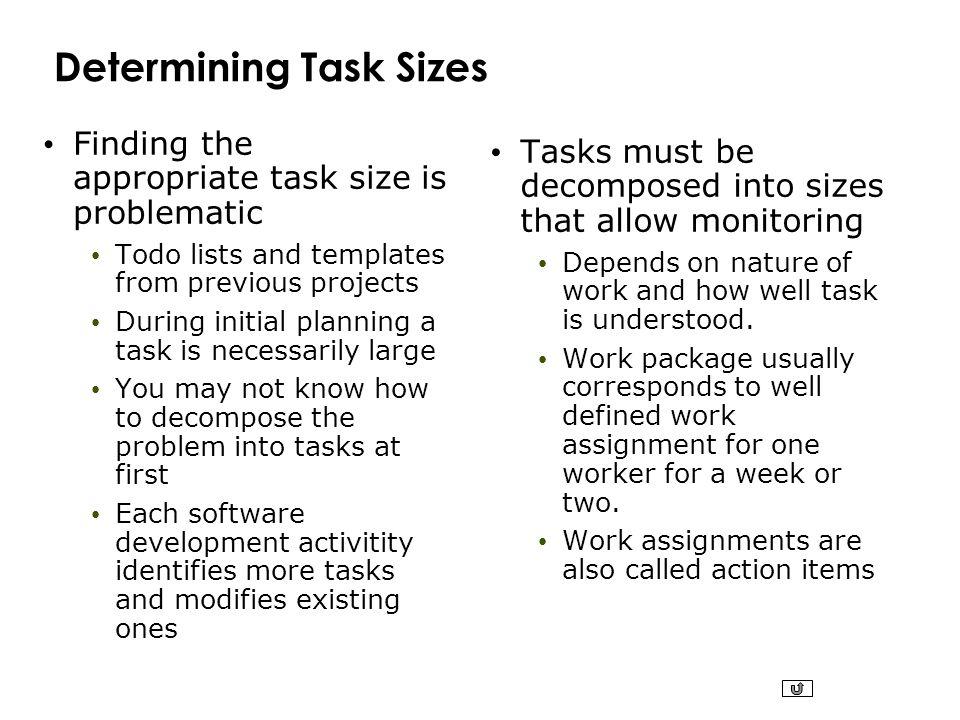 Determining Task Sizes