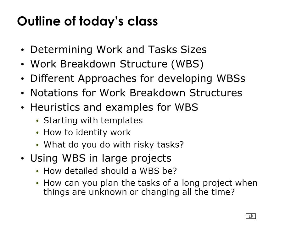 Outline of today's class