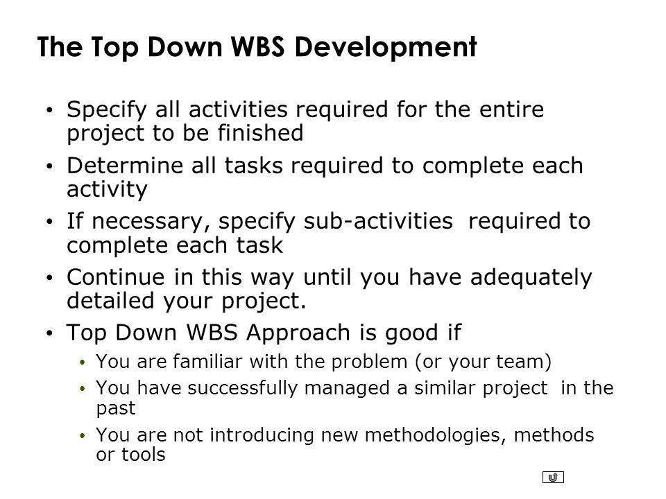 The Top Down WBS Development