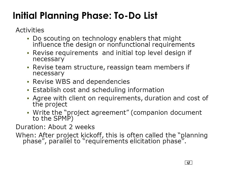 Initial Planning Phase: To-Do List