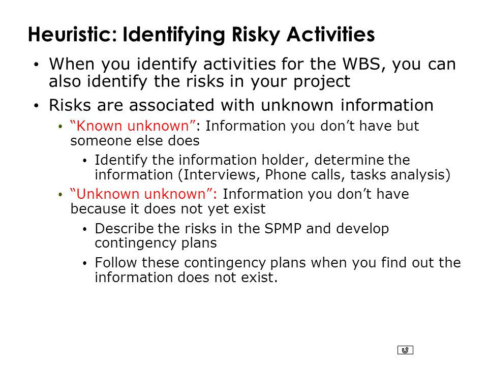 Heuristic: Identifying Risky Activities