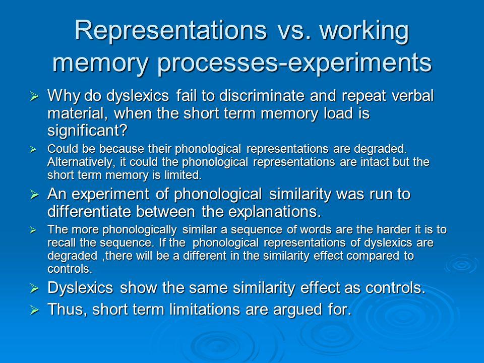Representations vs. working memory processes-experiments