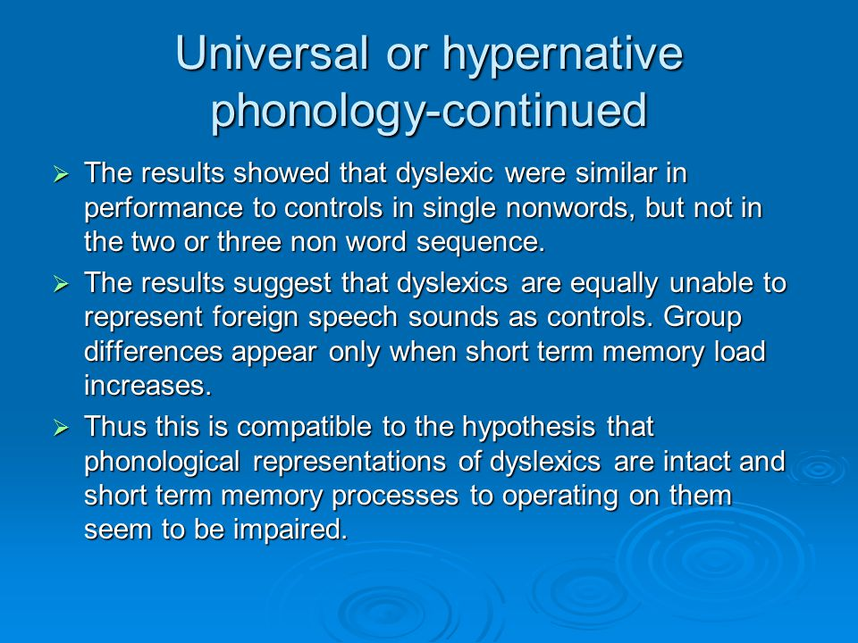 Universal or hypernative phonology-continued