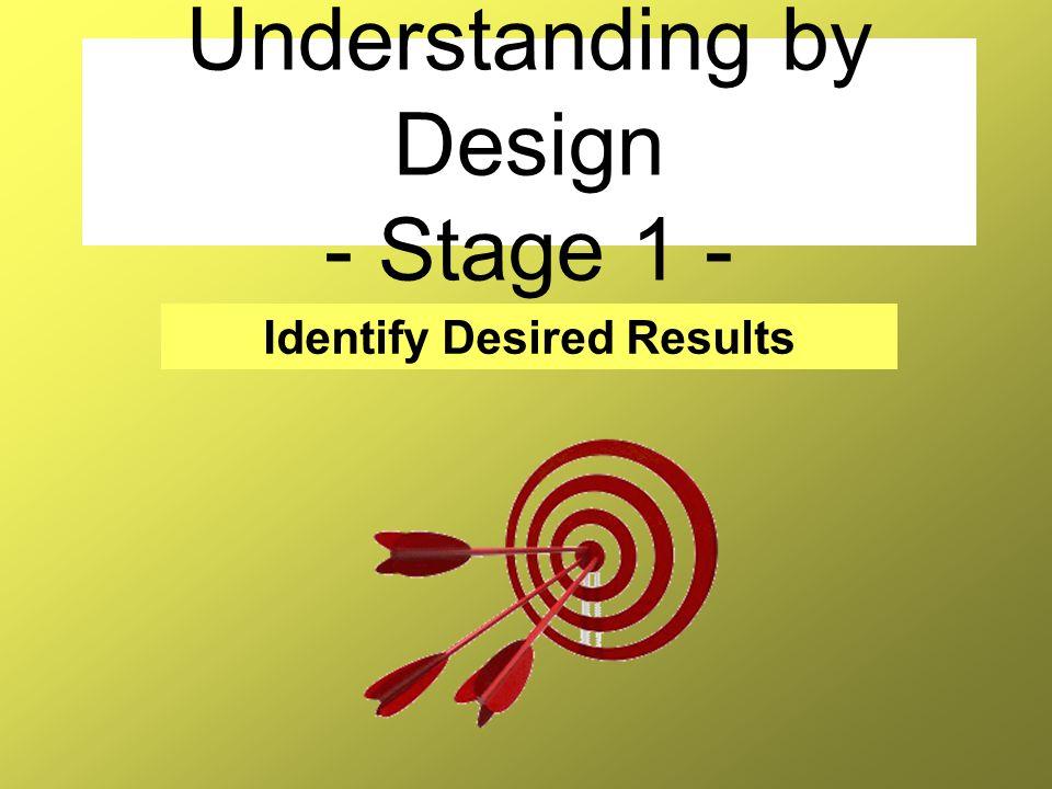 Understanding by Design - Stage 1 -