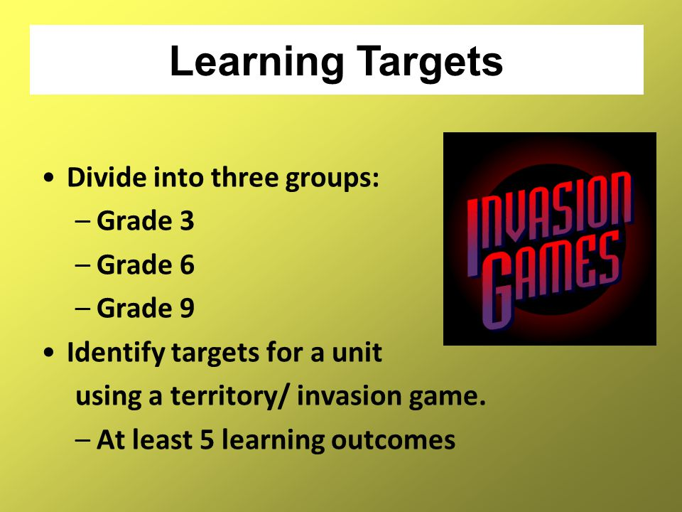 Learning Targets Divide into three groups: Grade 3 Grade 6 Grade 9