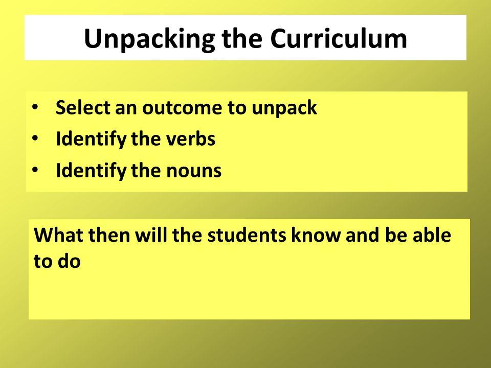 Unpacking the Curriculum