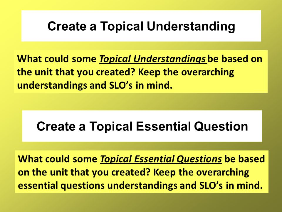 Create a Topical Understanding Create a Topical Essential Question