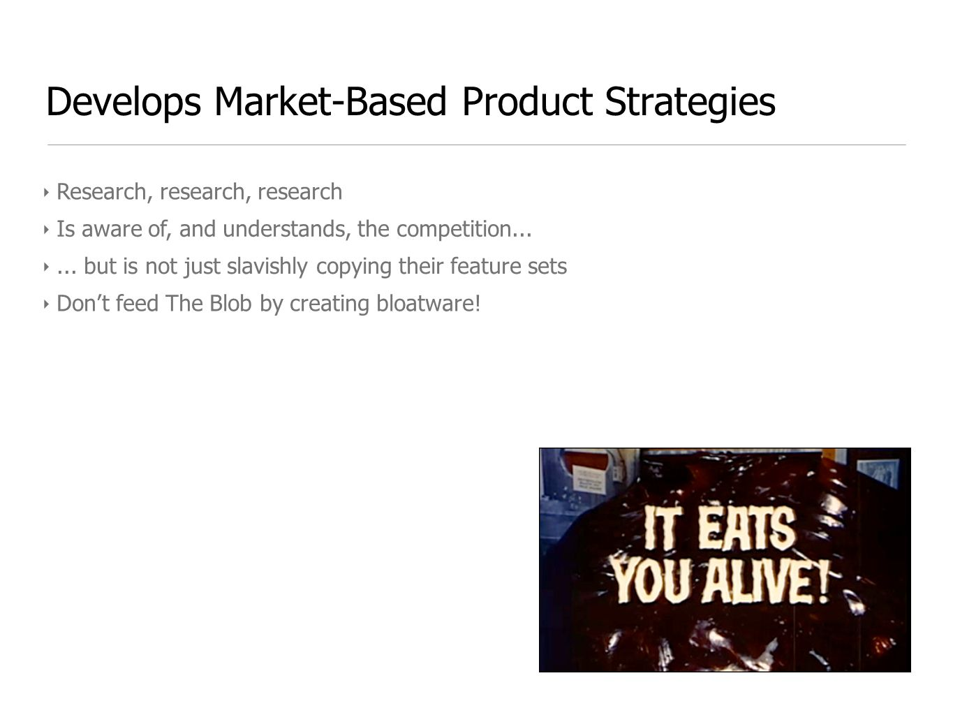 Develops Market-Based Product Strategies