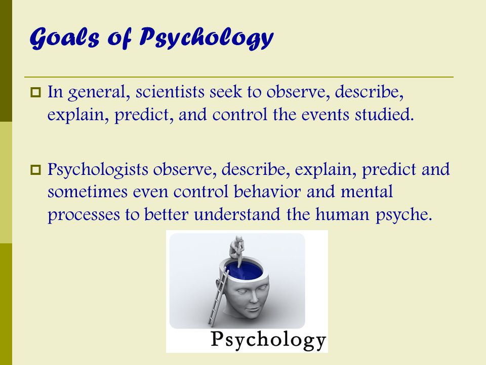 Goals of Psychology In general, scientists seek to observe, describe, explain, predict, and control the events studied.