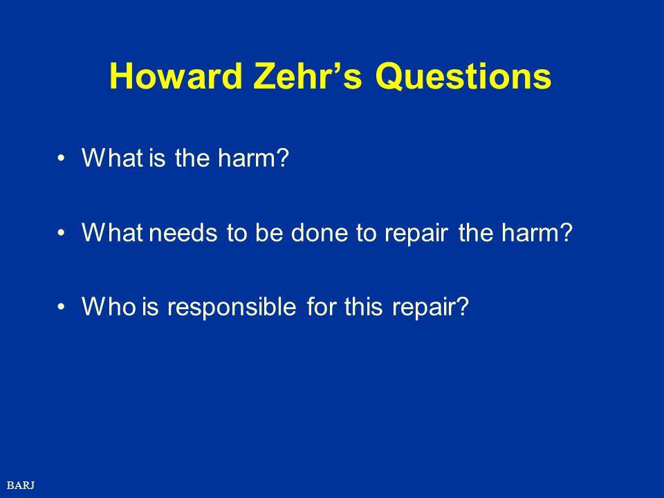 Howard Zehr's Questions