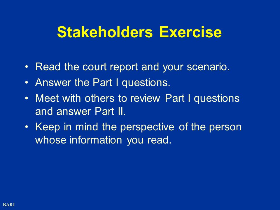 Stakeholders Exercise