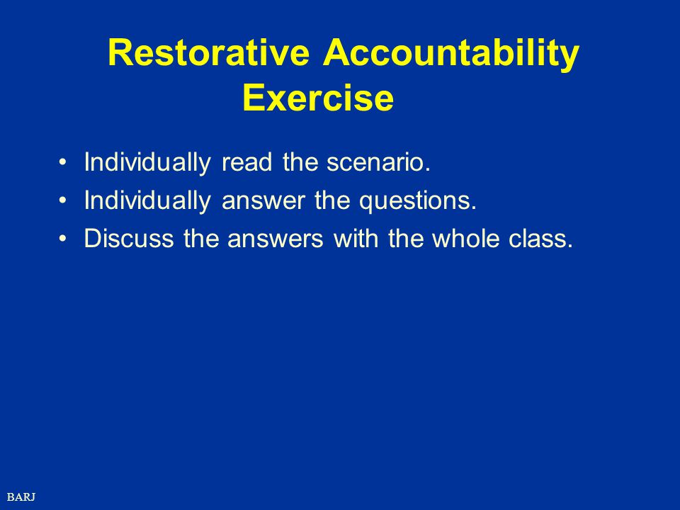 Restorative Accountability Exercise