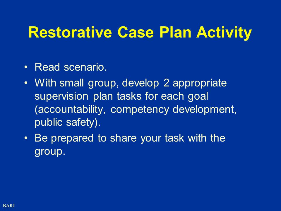 Restorative Case Plan Activity