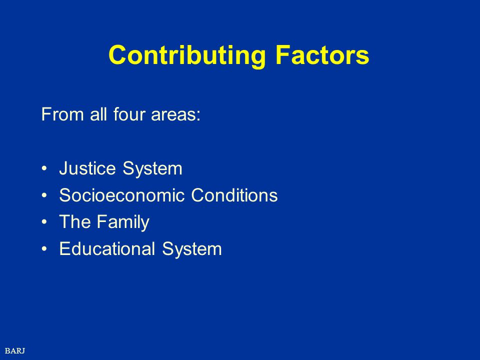 Contributing Factors From all four areas: Justice System