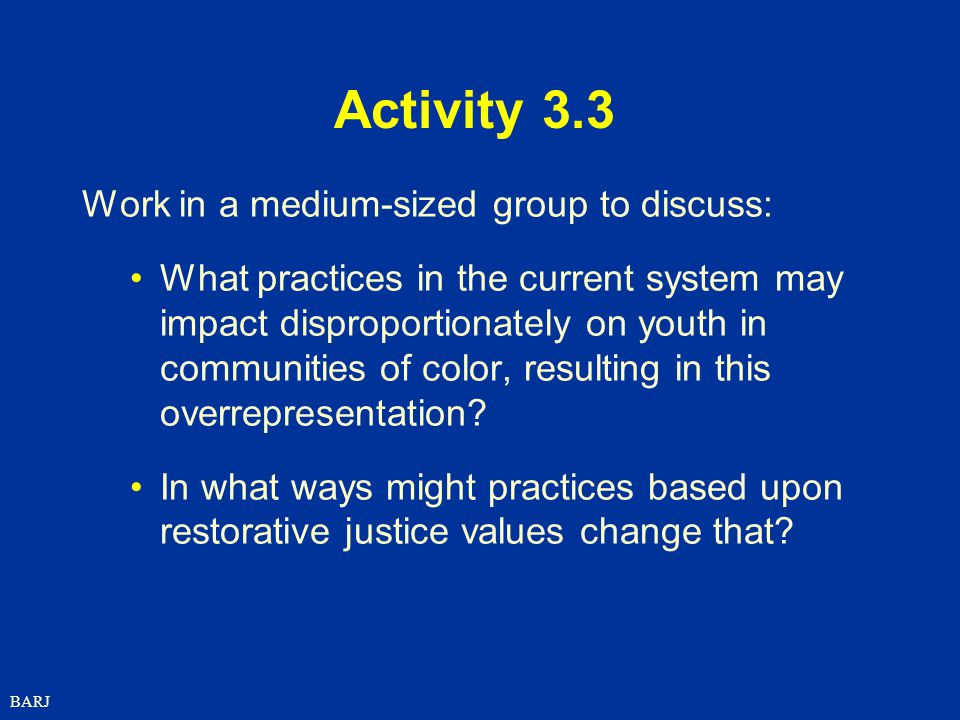 Activity 3.3 Work in a medium-sized group to discuss: