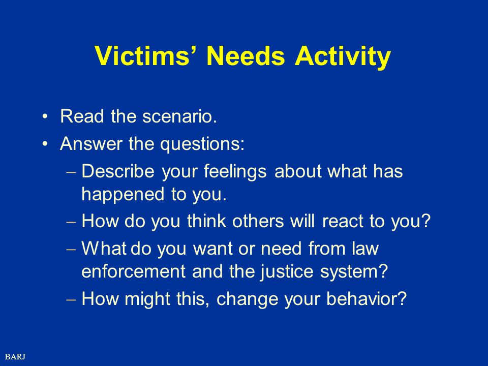 Victims' Needs Activity