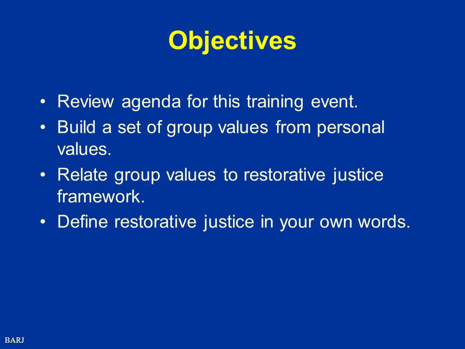 Objectives Review agenda for this training event.