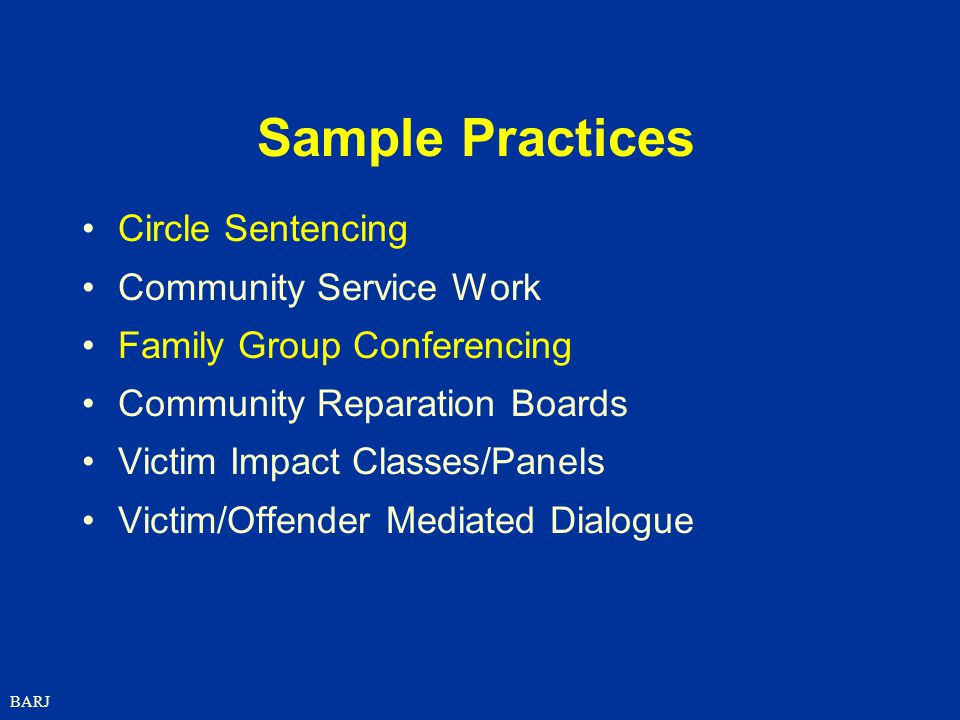 Sample Practices Circle Sentencing Community Service Work