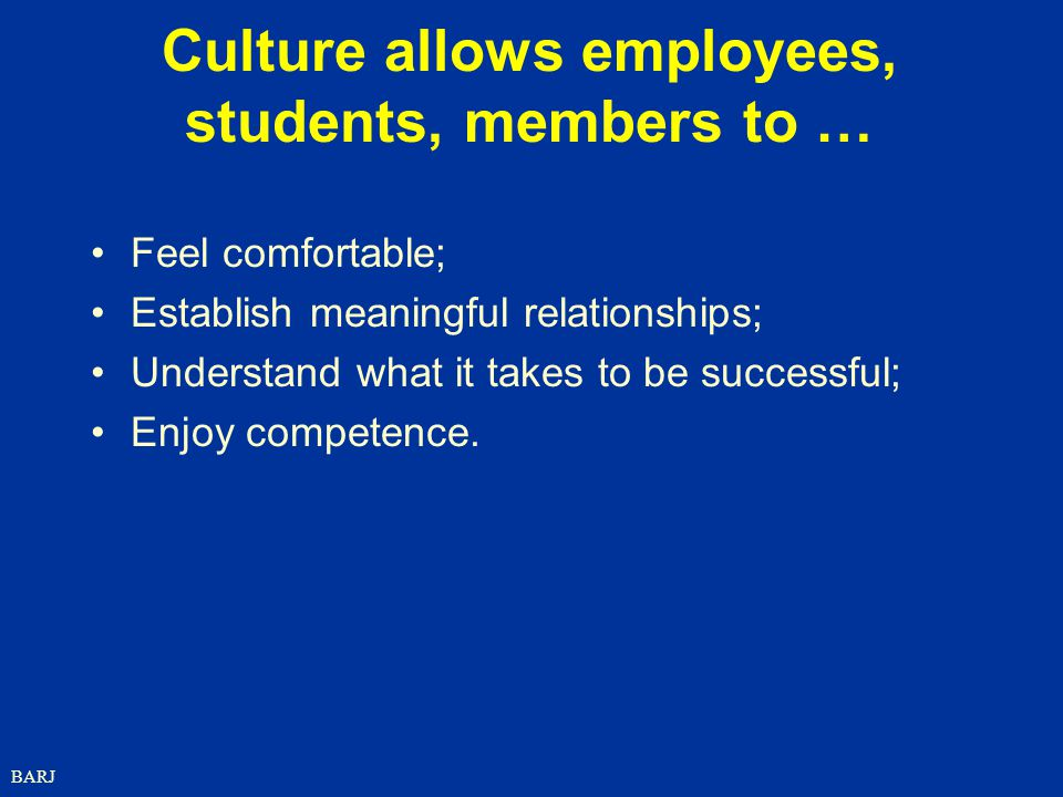 Culture allows employees, students, members to …