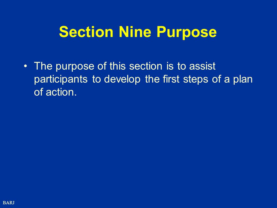 Section Nine Purpose The purpose of this section is to assist participants to develop the first steps of a plan of action.