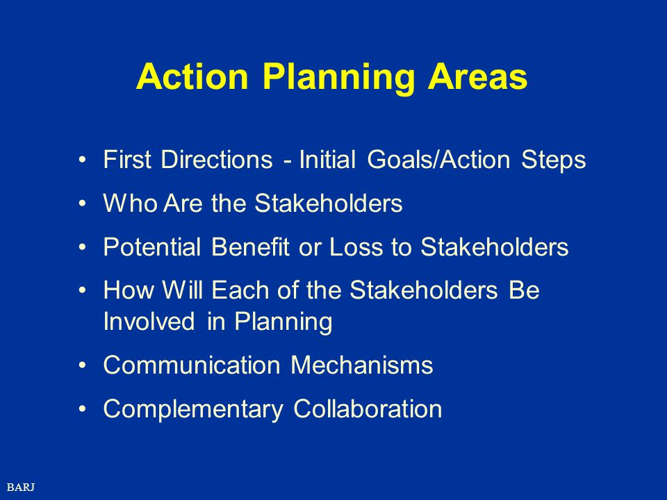 Action Planning Areas First Directions - Initial Goals/Action Steps
