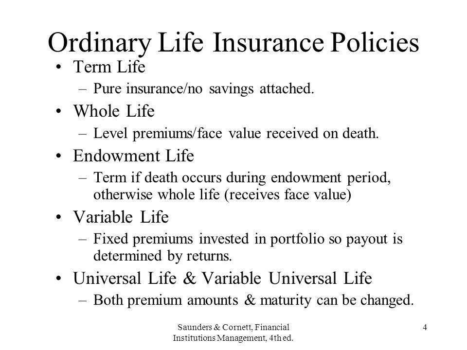 Ordinary Life Insurance Policies