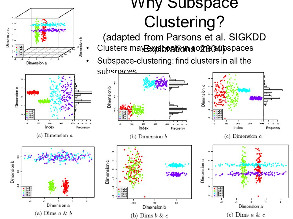 Why Subspace Clustering. (adapted from Parsons et al