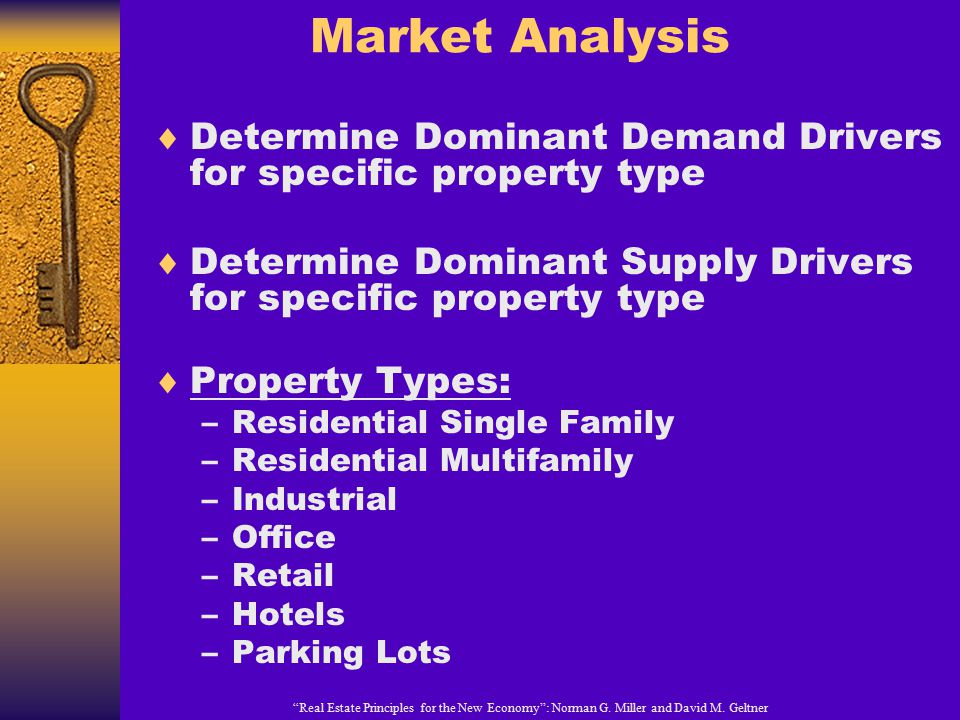 Market Analysis Determine Dominant Demand Drivers for specific property type. Determine Dominant Supply Drivers for specific property type.